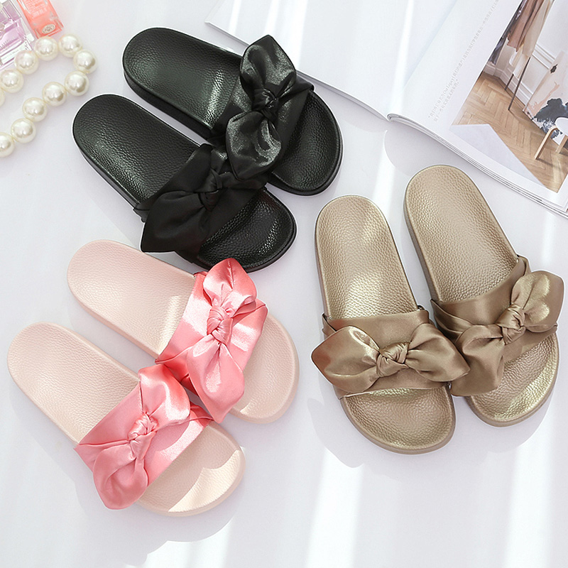 Luxury Silk Bow Slides 2017 Women Summer Slides Pink Silk