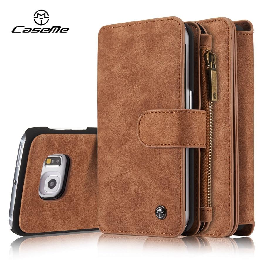 bilder für Für Samsung Galaxy S6 Fall rand Brieftasche Leder Abdeckung Flip ganze Telefon Schutz Luxus Schwarz Braun Fällen für Samsung S6 rand