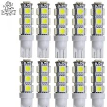 цена на FYSZ T10 LED Car 12V 5050 3W 6500K 300-Lumen 13-SMD indicator light license plate light White Light Bulbs 10Pcs
