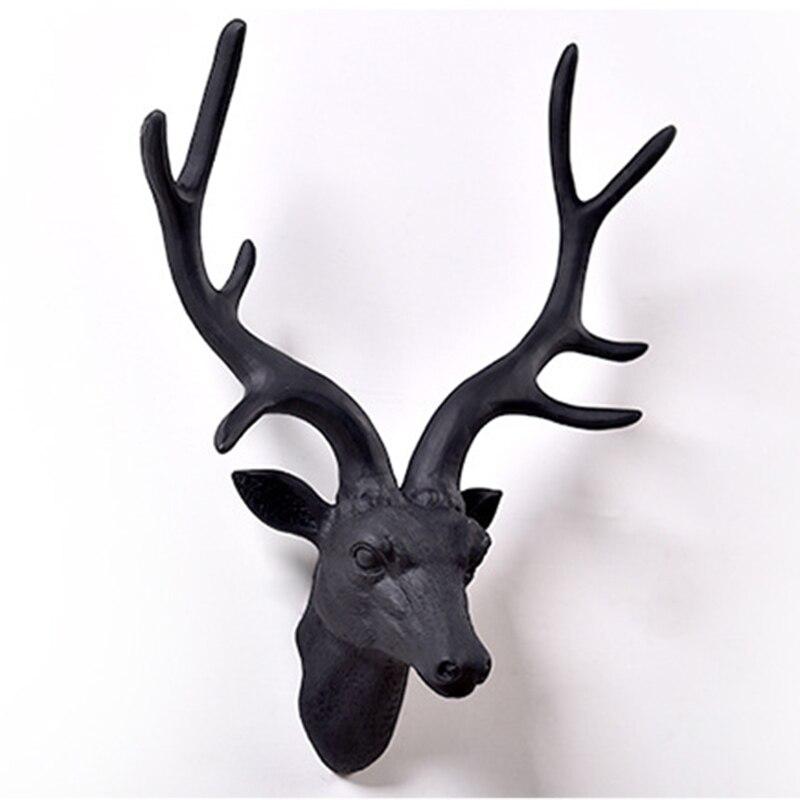 Vintage Resin Deer Head Sculpture Murals Home Wall Hanging Decoration Statue American Elk Handmade Ornaments Artwork