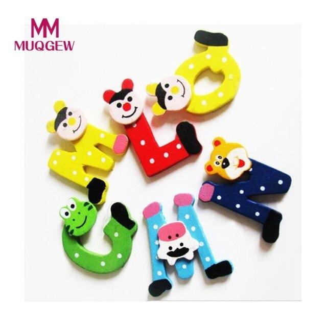 2017 hot sale new kids toys 26pcsset wooden cartoon alphabet abcxyz magnets