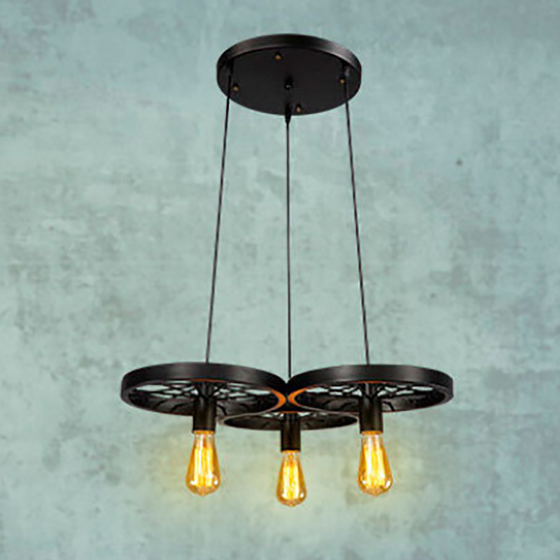 Retro Industrial iron wheel vintage black pendant Lamp Classic Loft Lights E27 110V-220V for Restaurant dining living room bar vintage pendant lights industrial loft american retro lamps creative restaurant dining room lamp bar counter incandescent bulb
