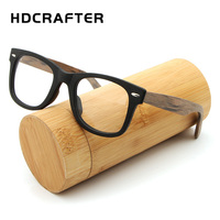 HDCRAFTER Vintage Retro Eyeglasses Frame Men Women Bamboo Wooden Myopia Prescription Optic Glasses Frame With Clear