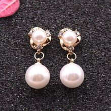 Factory price wholesal Women Earrings White Charming 6-10mm AAA Akoya whitepearl Earring