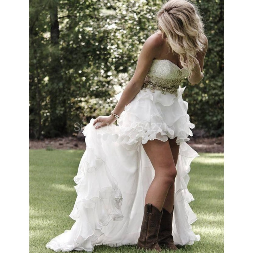 High Low Western Country Wedding Dresses Beaded With Sash Ruffles ...