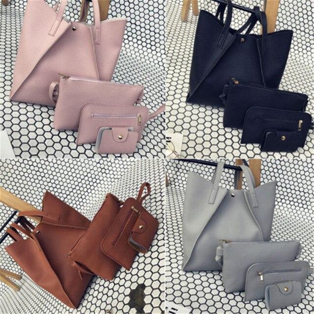 f95e9fade8f 2018 New And Fashion Classic 4pcs Women Handbag Lady PU Leather Shoulder  Bag Tote Purse Messenger Satchel Set