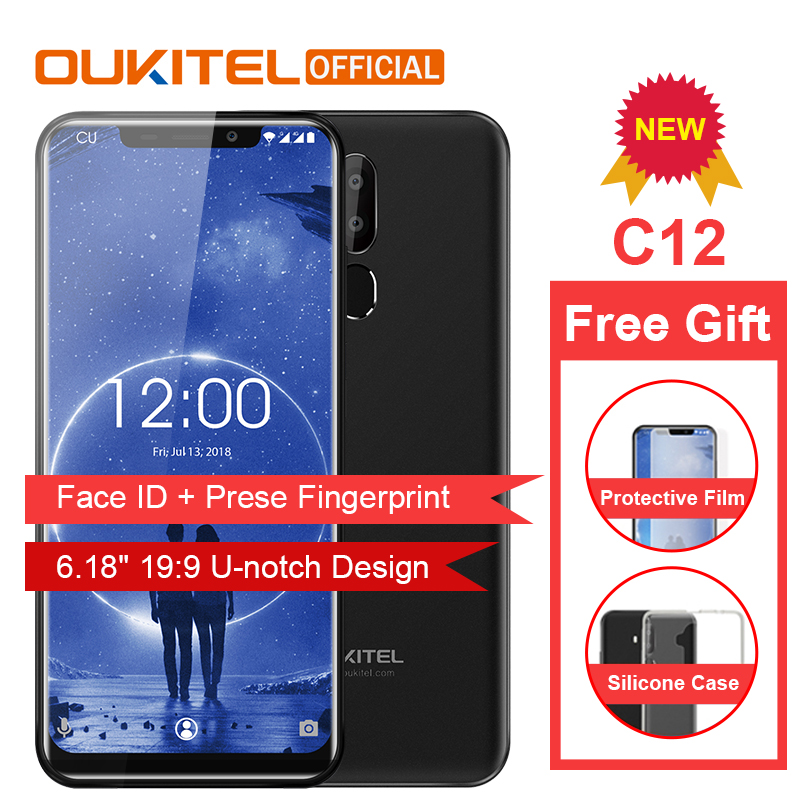 OUKITEL C12 Face ID 6 18 19 9 Smartphone Fingerprint Android 8 1 Mobile Phone MTK6580