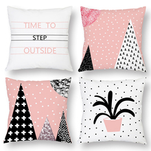 Peach Skin Cushion Cover Summer Soft Pink Covers for Pillows Sofa Home Decor Christmas Tree Wave Point Geometry Pattern 45x45cm