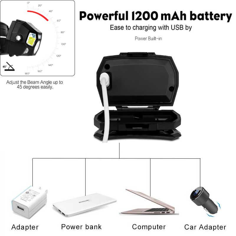 7000 Lumen Đèn Led Cảm Biến Chuyển Động Siêu Sáng Mũ Đầu Đèn Mạnh Đèn Pha USB Chống Nước Đèn Pin