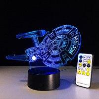Star Trek Spaceship Lamp 7 Color Changing Visual Illusion LED Light Star Trek Deco Fashion Toy