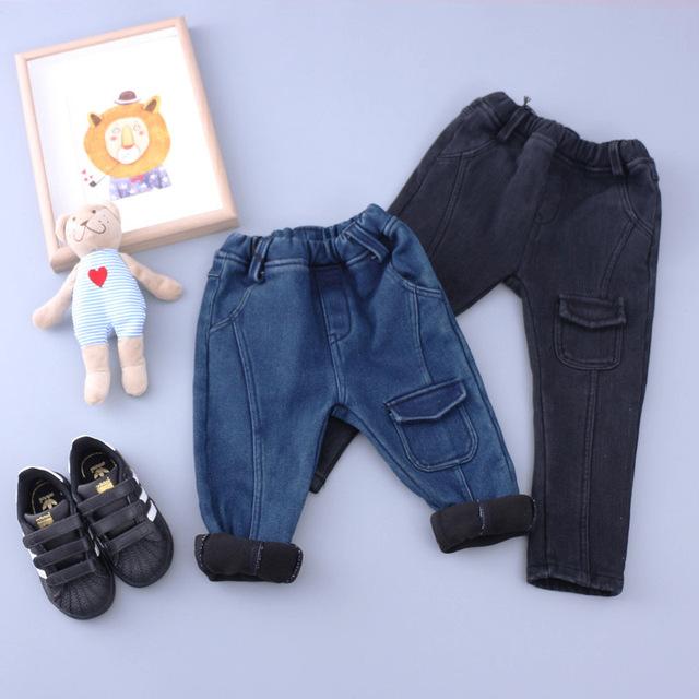 Calça jeans meninos meninas da criança denim azul escuro preto bolsos das calças de lã grossa crianças inverno quente sólidos designer jeans crianças roupas