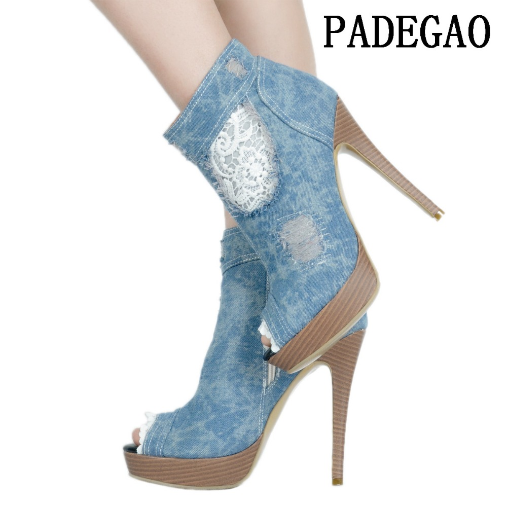 PADEGAO Women Boots Ankle Boots High Heel For Woman Zip Fish Mouth Party Boot  Plus Size  PU Material 1000g 98% fish collagen powder high purity for functional food