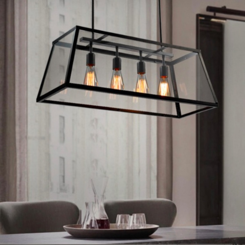 NEW Vintage Industrial Black iron Clear Glass Box Led E27*4 Pendant light for Restaurant Dining room Bar Deco Lamps 1665