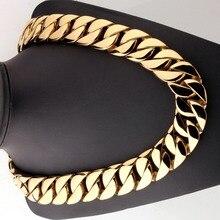 Collar de acero inoxidable 316L para hombre y mujer, cadena cubana curva, color dorado, de 24/31mm de ancho