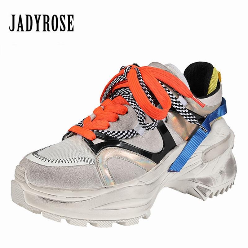 Jady Rose coloré femmes baskets rétro plate-forme Creepers à lacets Espadrilles baskets dames chaussures femme chaussures plates Tenis