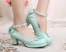 Flower Shoes Women Bow Embellished Lolita Shoes Ankle Buckle Strap Japanese Style Cute Girls Pumps Medium Heel Free Shipping