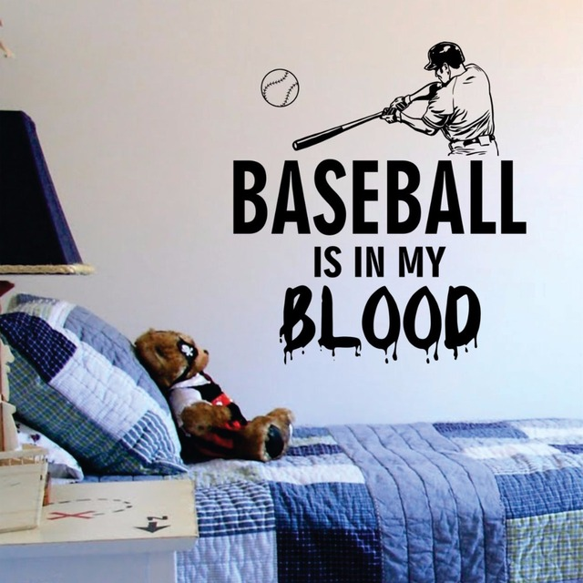 Baseball is in my blood Wall Decals Vinyl Art Wall Stickers For Kids ...