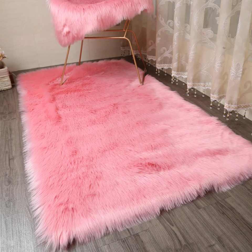 tapis poilu en peau de mouton rose pour salon chambre a coucher fourrure simple moelleux lavable chambre a coucher