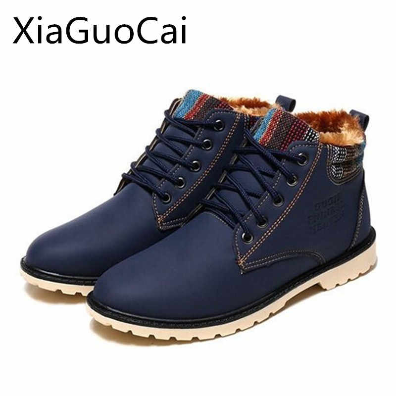 be5f46a55 XiaGuoCai 2018 High Top Fashion Men Boots Warm Waterproof Military Winter  Boots for Men Leather Tactical