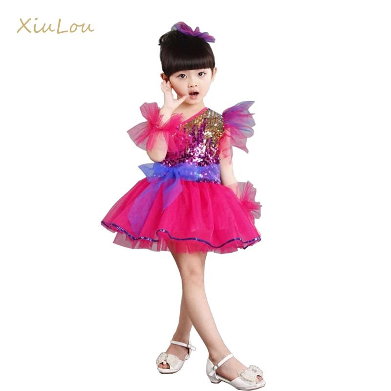 ropa para salsa vestido de lentejuelas niños modernos trajes de baile de jazz para niñas trajes de baile escenario infantil traje danza contemporánea