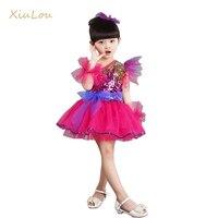 Salsa elbise pullu modern çocuklar için giysi caz dans kostümleri kızlar için dans kostümleri çocuk sahne kostüm çağdaş dans