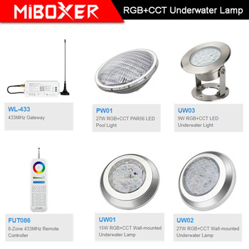 Miboxer AC12V/DC12-24V IP68 underwater 9W/15W/27W RGB+CCT Wall-mounted Underwater Lamp 27W PAR56 LED Pool Light;433MHz Gateway hot sale stainless steel pc remote control underwater light ip68 par56 72w rgb ac12v led swimming pool light safe in used