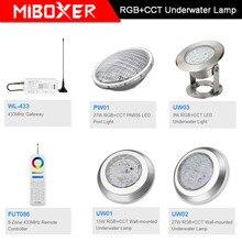 Miboxer AC12V/DC12 24V IP68 unterwasser 9W/15W/27W RGB + CCT Wand montiert unterwasser Lampe 27W PAR56 LED Pool Licht; 433MHz Gateway