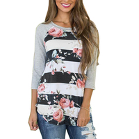 Plus Size S XXXL Patchwork Long Sleeve Printed Floral T Shirt Female Top Tees Striped T