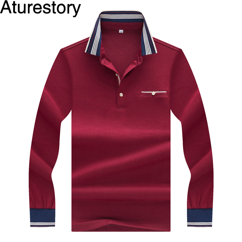 new style 5c658 5171e US $31.99 |Aturestory Mens Long Sleeve Polo Brand Luxury Quality European  Men's Elegant Solid Fit Business Casual Cotton Polo Shirts Pocket-in Polo  ...