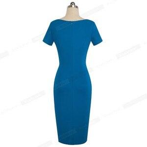 Image 2 - נחמד לנצח נשים בציר אלגנטי טהור צבע vestidos עסקים Bodycon נדן משרד עבודה לפרוע נשי שמלת B523