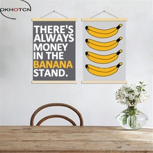 OKHOTCN Nordic Picture Painting On Canvas Cartoon Bananas Posters And Prints Modern Home Living Room Decor Wall Art Framework