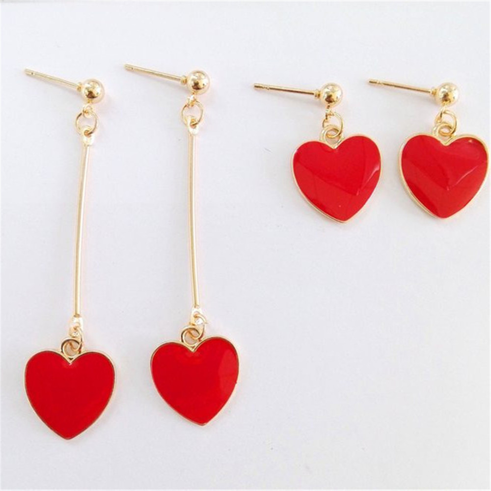 Fashion Simple Red Hearts Pendant Long Style Short Style Ms Stud Earrings  2017 Fashion Earrings Wholesale