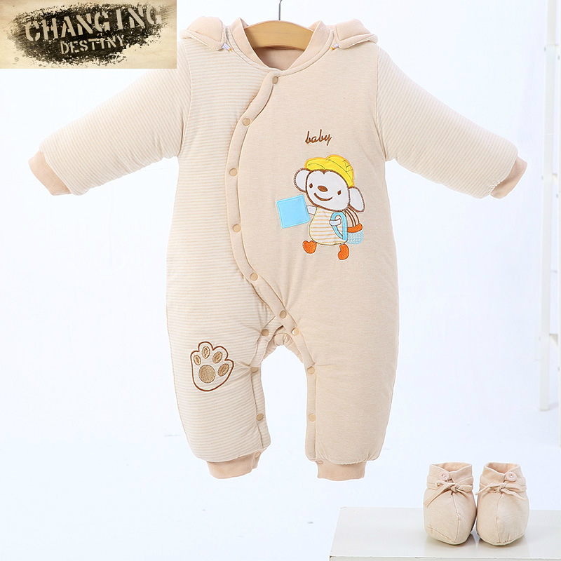 0-12 Months 2018 New Autumn Winter Baby Clothes Girl Boy Romper Warm Baby Winter Jumpsuit with Thick Cotton Climb Clothes Brown 2017 new baby winter romper cotton padded thick newborn baby girl warm jumpsuit autumn fashion baby s wear kid climb clothes