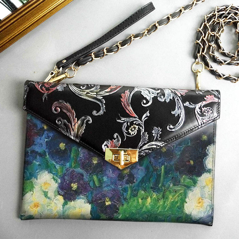 100% Hand-Painting Art Oil Genuine Leather Bag Designer Handbags High Qualiry Shoulder Bag Women Messenger Crossbody Clutch Bags