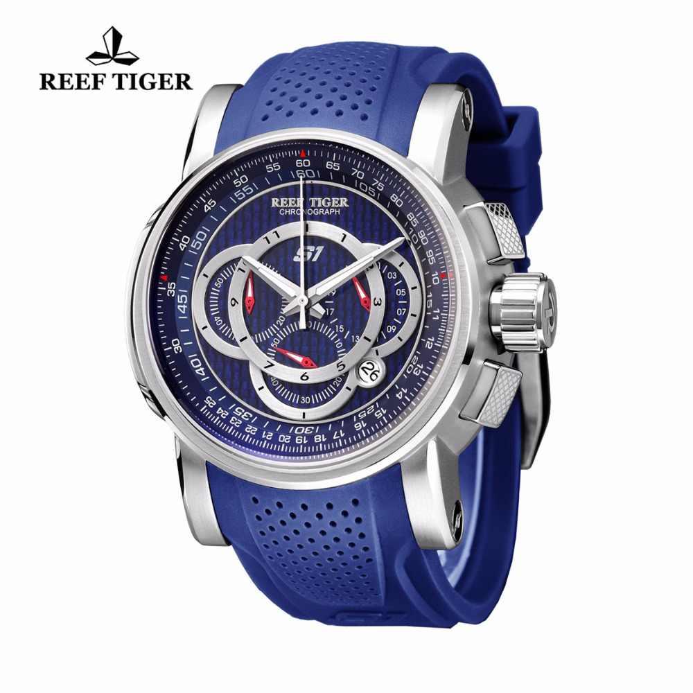 שונית טייגר/RT Mens ספורט שעון עם הכרונוגרף תאריך 316L פלדת גומי רצועת קוורץ שעונים גדול כחול שעונים RGA3063