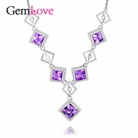 Gemlove 5ct Amethyst Pendant Necklaces 925 Sterling Silver Jewelry Girls Natural Stone Necklace Women Colares 2017
