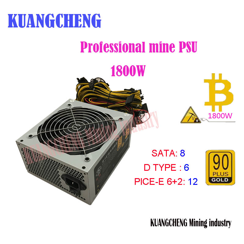 KUANGCHENG ETH ZCASH SC MINER Gold POWER 1800W BTC Power Supply For 1060 RX 470 /570 RX480/580 For 6 8 GPU CARDS