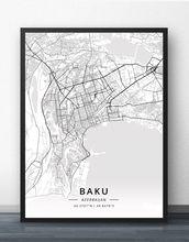 Плакат с картой Баку