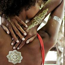 1PC Removable Temporary Gold Silver Leaf Flower Tattoos Metallic Sex Products Jewelry Henna Tatouage Body Art Tatto Stickers(China)