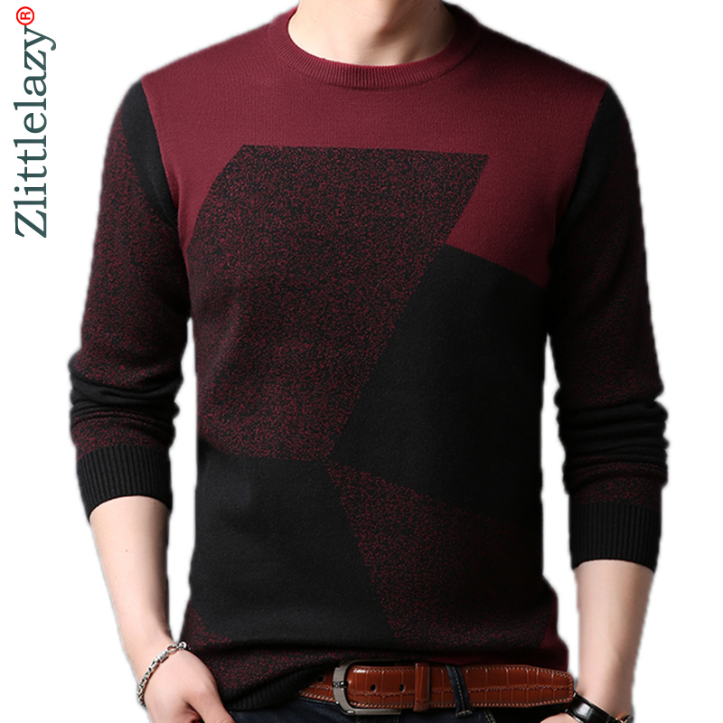 2019 Male Casual Patchwork Autumn Winter Warm Pullover Men Sweater Mens Thick Knitted Men's Jersey Sweaters Mens Clothing 41511