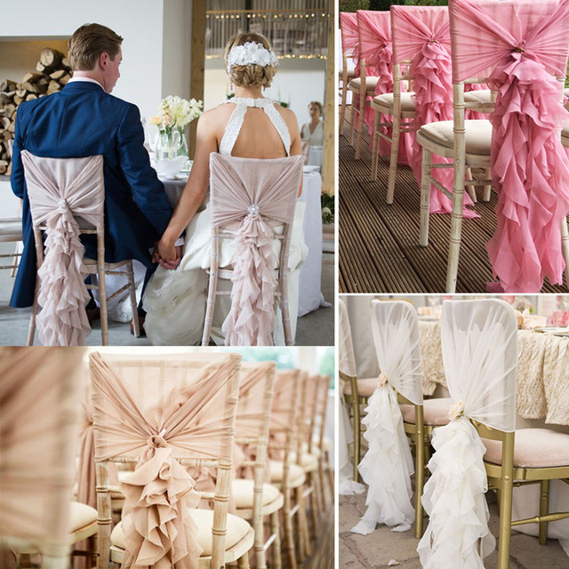Wedding Chair Sash Accessories White Material Dining Chairs Upscale 3d Chiffon Bamboo Back Banquet Decoration Cover Red Pink Purple Champagne