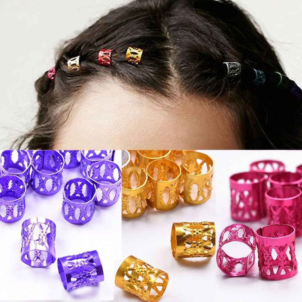 In 100pcs/bag New Arrival Colorful Hair Braiding Beads Rings Cuff Hair Styling Tools Popular Sale Pinzas Para El Cabello Fragrant Flavor