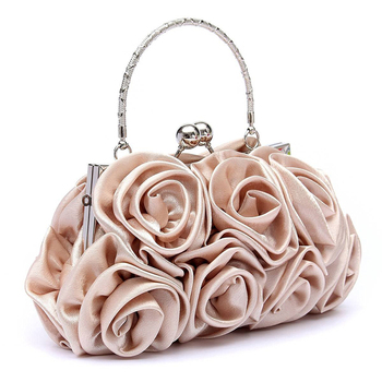 New 2018 satin Hot Fashion Floral Ladies day Clutch Bag Women Evening Party  Prom Bridal Diamante Baguette White 5 colors summer