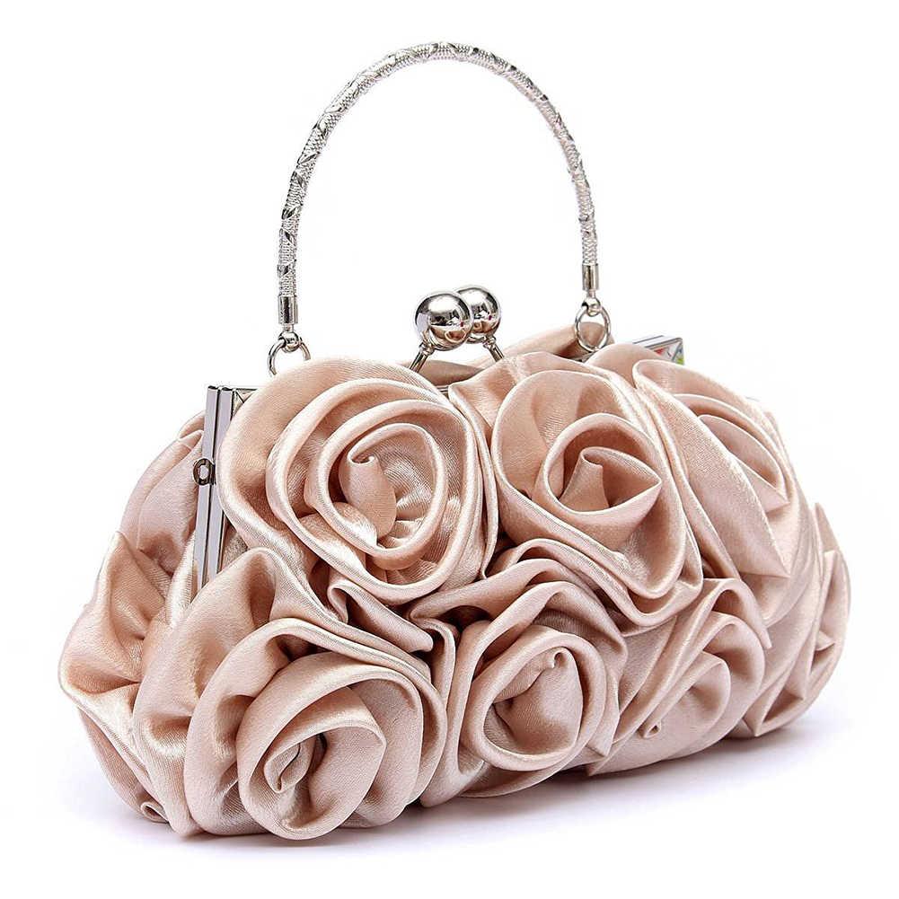 668dba969006 Новинка 2018, атласная Модная Цветочная женская сумка-клатч на день,  женская вечерняя сумочка