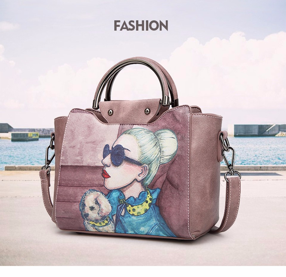 18 Famous Designer Brand Tote Bags Women High Quality Leather Handbags Shoulder Bag For Ladies Vintage Print Handbag Blue Pink 1