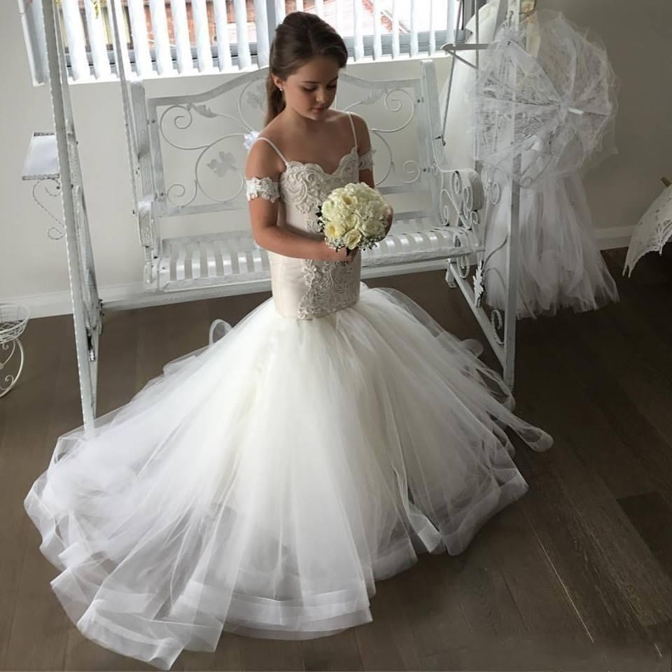 2017 New White/Ivory Flower Girl Dresses Spaghetti Straps Lace Appliqued Mermaid Little Girl's Wedding Party Communion Gown new white ivory nice spaghetti straps sequined knee length a line flower girl dress beautiful square collar birthday party gowns