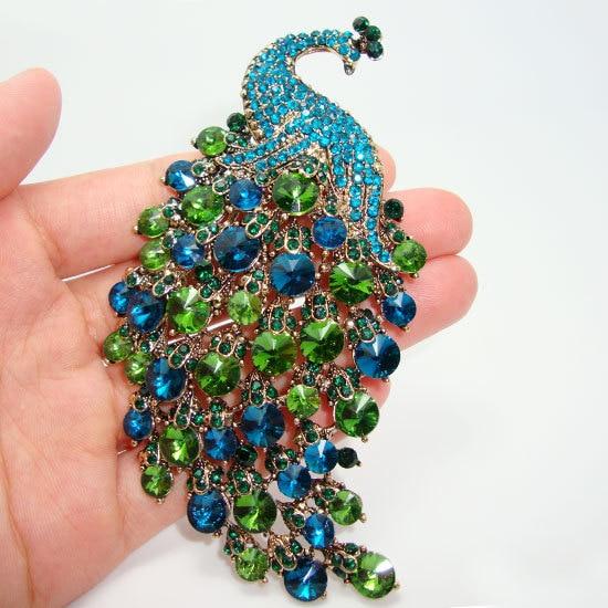 Is Monet Jewelry Real >> Aliexpress.com : Buy Art Nouveau Peacock Brooch Vintage Green Crystal Rhinestone Jewelry Animals ...