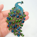 Art Nouveau Peacock Brooch Vintage Green Crystal Rhinestone Jewelry Animals
