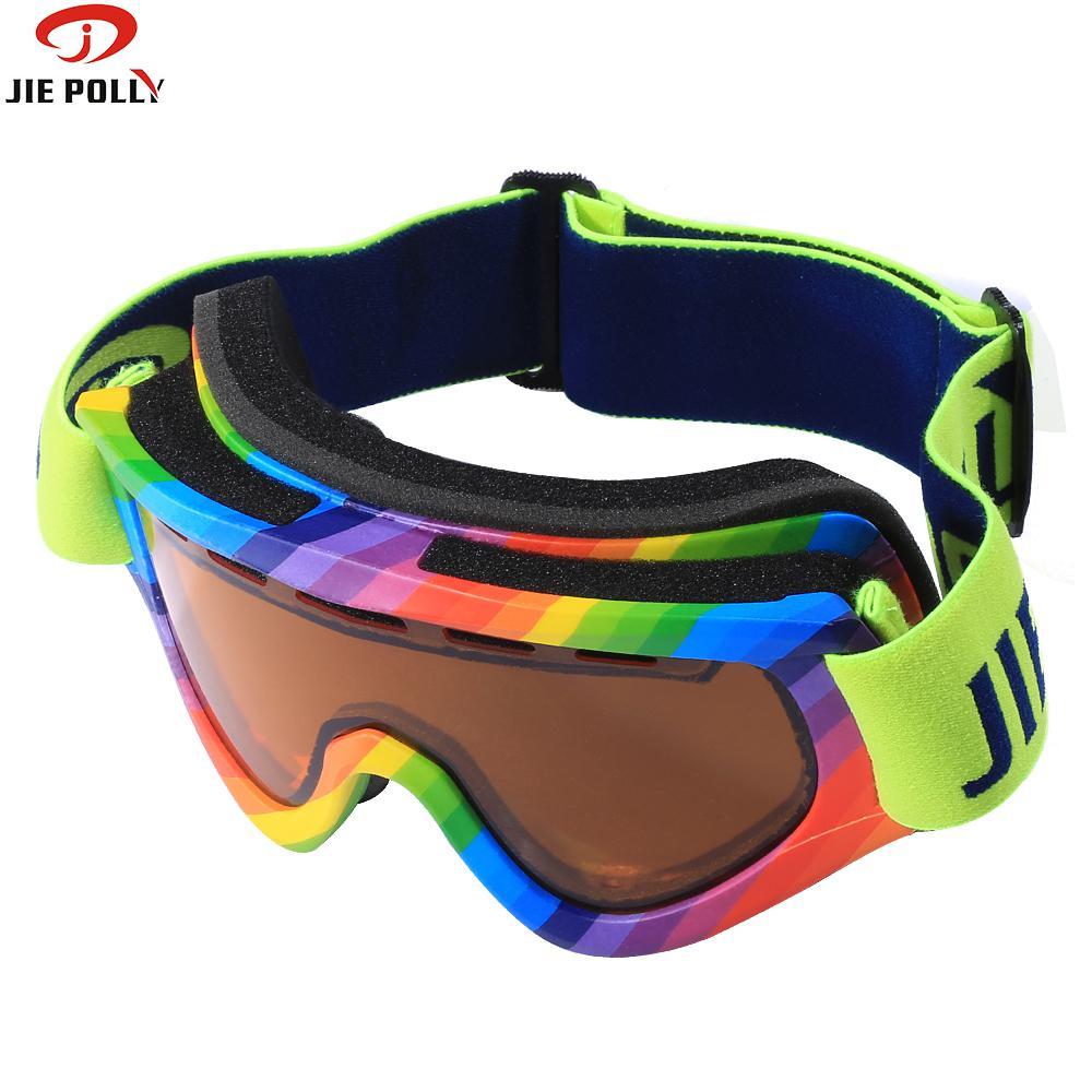Jiepolly professionnel Ski Snowboard lunettes double lentille Anti-buée UV400 pour femmes hommes adultes Ski lunettes marque Ski lunettes