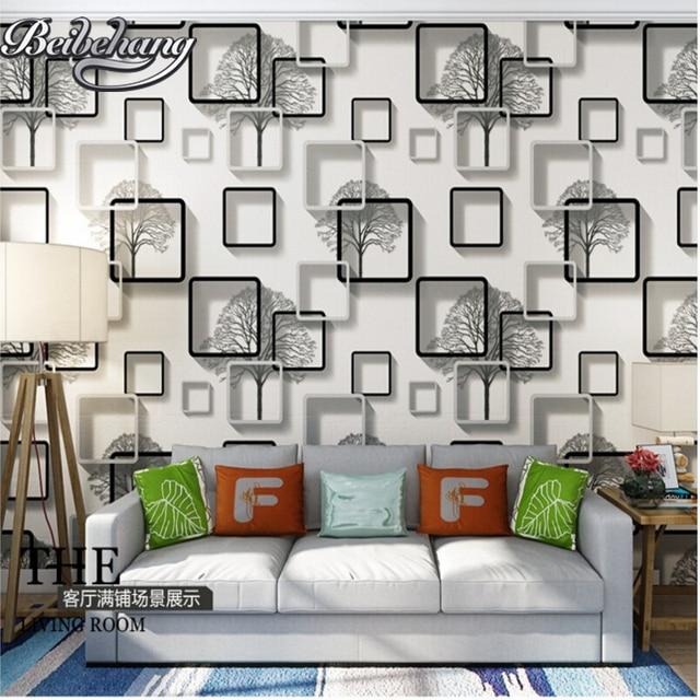 Beibehang Stereo Ungu Biru Wallpaper Ruang Tv Hotel Tamu Latar Belakang Dinding Paper